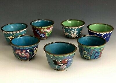Set Of 7 Antique Chinese Cloisonne Small Cups
