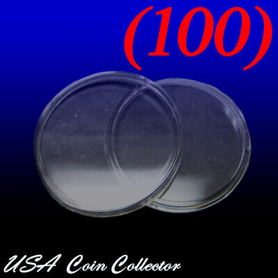 100 Large Dollar Size Direct Fit Air-Tite Coin Capsules 38.1mm Genuine