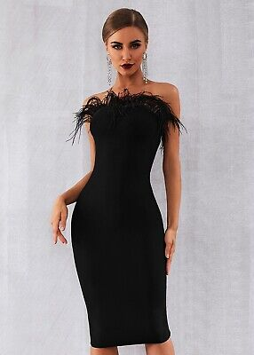 Black Feathers Sleeveless Strapless Bodycon Party Summer Women Bandage Dress