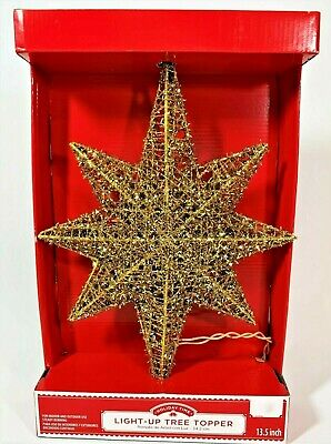 Holiday TIme Tree Topper 8 Point Tinsel Star Light Up 13.5 inch