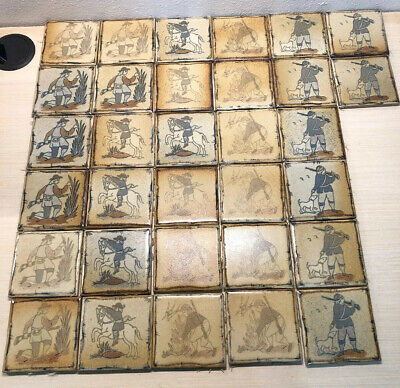 """Vintage Tile Collection 4 Scene 32 Tiles """"The Hunter"""" Amazing & Rare"""