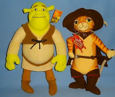 "PLUSH SHREK-14"" tall-Talking Puss 'n Boots 13"" w/hang tags-Ogre LOT-2-LKNW"