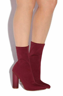 CAPE ROBBIN Paw-1 Break The Internet Pointed Toe Cylinder Heel Scuba Material Stretch Ankle Boot