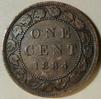 1884 (Obverse 2) CANADA ONE CENT Coin