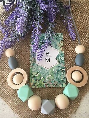 Silicone And Wooden Sensory (was teething) Necklace Beads Jewellery Aus Gift