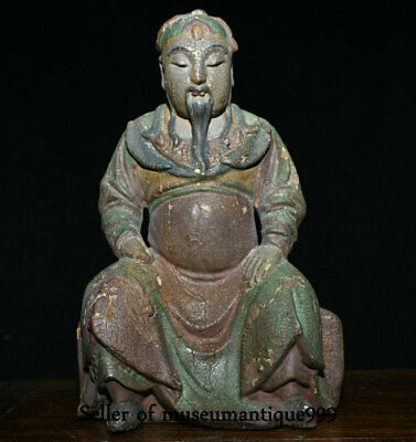 26CM Ancient Old China Wood Painted Dynasty Guan Gong Guan yu Warrior God Statue
