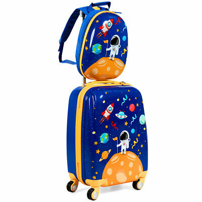 2PC Kids Luggage Set 18'' Rolling Suitcase & 12'' Backpack ABS Spaceman as Gifts