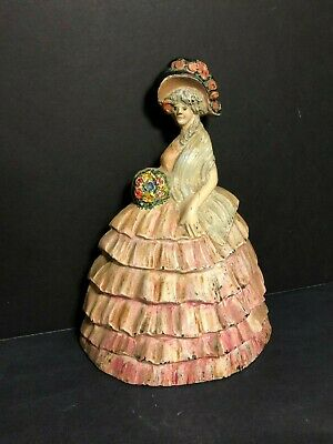 Rare Old Antique Solid Cast Iron Dolly Madison Victorian Southern Belle Doorstop