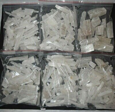 Selenite Wands pieces healing cutting ties crystal chunks BULK 1 kilo bag