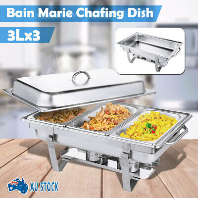 9L 3 Trays Bain Marie Bow Chafing Dish Stainless Steel Food Buffet Warmer Set AU