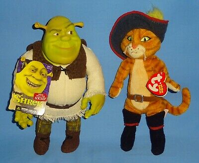 "Vintage 2001 Shrek Vinyl Head Plush Body 8""-Ty plush Puss In Boots-8""-2007-LOT-2"