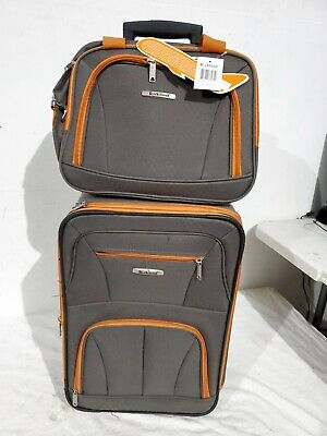 $240 New Rockland 2 Piece Carry On Luggage Set Rolling Wheeled Suitcase Gray