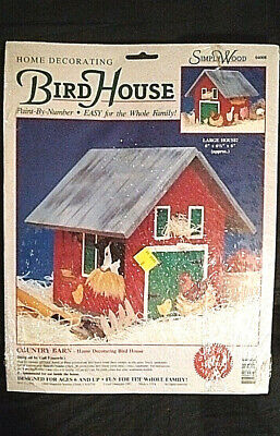Vintage Paint-By-Number Bird House Kit - Country Barn