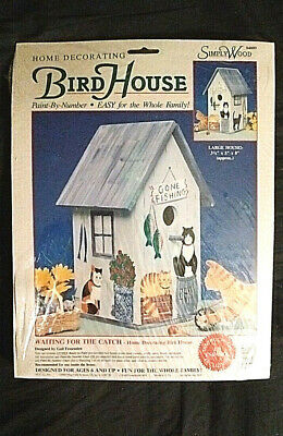 Vintage Paint-By-Number Bird House Kit - Waiting for the Catch