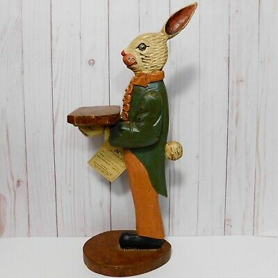 HandCrafted Carved Wood Victorian Bunny Butler 18 in Tall Hand Painted Folk Art