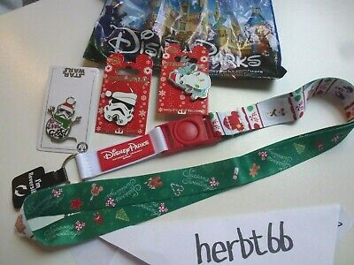 Disney Parks 2019 Reversible Holiday Lanyard & Mickey Star Wars 3 PIN SET Porg