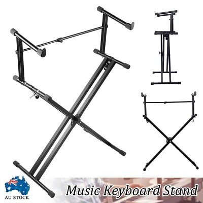 Black Adjustable Double Braced Music Keyboard Stand X Type Stool Piano Holder AU
