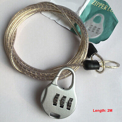 Chain Lock w/ Password Steel Cable Metal Luggage Security for Bike Bicycle Cover