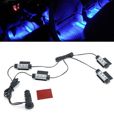 4x LED Car Charge Interior Accessories Atmosphere Lamp Floor Decorative Light HL