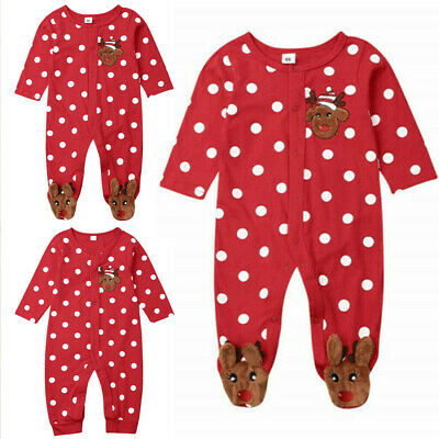 Christmas Baby Boy Girls Romper Bodysuit Clothes Kids Xmas Costume 0-18 Months
