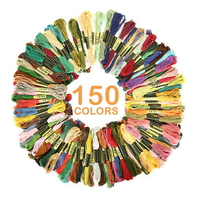 150 Colors 8M Embroidery Thread Stitch Floss/Skeins Polyester Cotton Kit MN