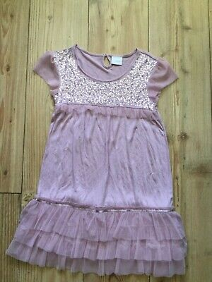 Next Girls' Cap sleeve pink sequined party dress (8 yrs), pre-owned.