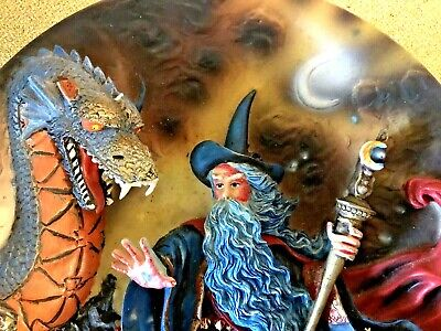 3D Dragon & Wizard Fantasy Plate Display Plate Ornament