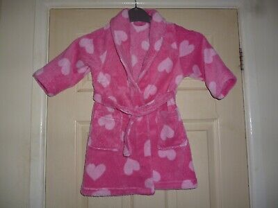 Fluffy pink dressing gown with hearts size 2-3 yrs pocks & attached belt by TU