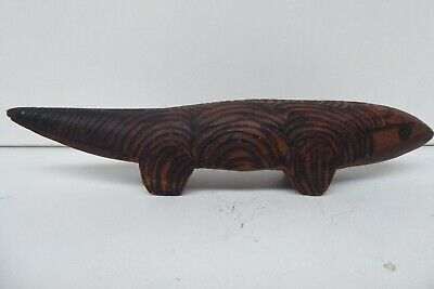 Old Aboriginal Carved Goanna Statue Figurine Wire Burnt Decoration