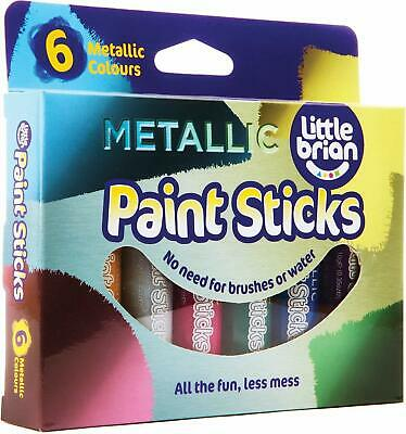 Little Brian Metallic Paint Sticks For Kids, 6 Assorted Colours