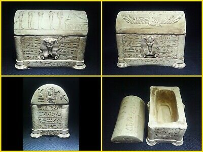 EGYPTIAN ANTIQUE ANTIQUITY Lided Stone Sarcophagus Coffin Tomb 1549-1082 BC