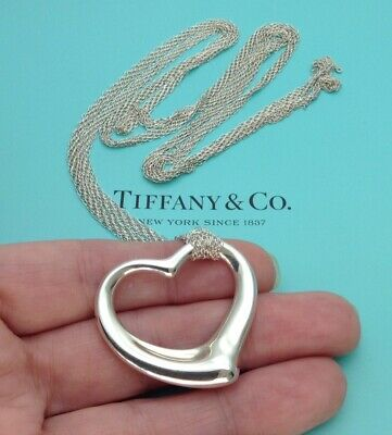 "Tiffany & Co. Sterling Silver Elsa Peretti 36mm Open Heart 38"" Mesh Necklace"