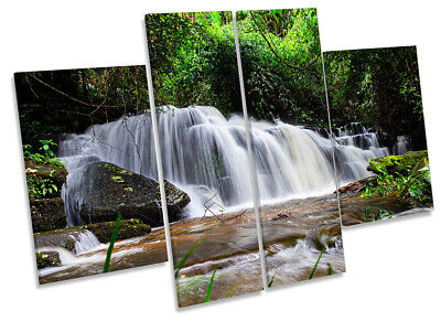 Beautiful Tropical Waterfall Print CANVAS WALL ART Four Panel Green