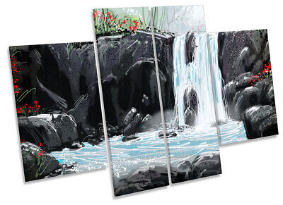 Waterfall Landscape Modern Print CANVAS WALL ART Four Panel Multi-Coloured