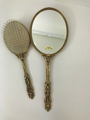 Vintage Globe 24 KT.Gold Plated Vanity Decor Hand Held Mirror /Brush (defect)