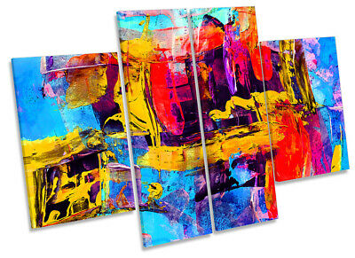 Abstract Modern Print CANVAS WALL ART Four Panel Multi-Coloured