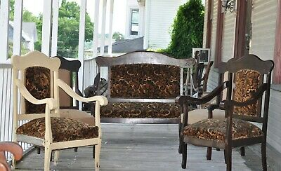 Antique Parlor Set - Settee Loveseat plus 4 matching chairs