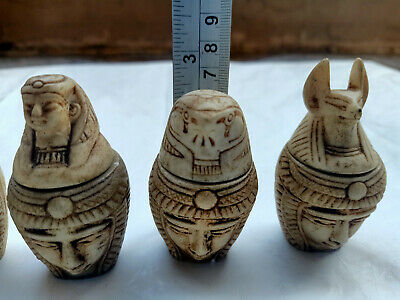 Full Set 4 canopic Jars Ancient Egypt stone Carved Horus Anubis Hapi 7 CM High
