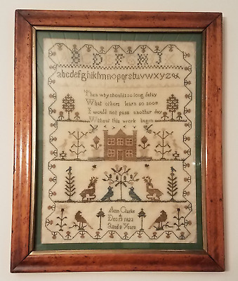 Antique Sampler in Frame, Ann Clarke, 1823, 8 Years Old