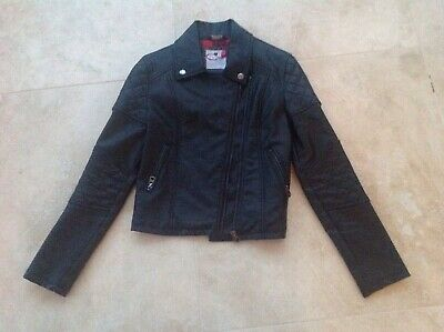 Girls M&S M&CO quality faux leather black biker style jacket AGE 11 years