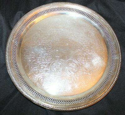 Vintage FB Rogers Silver Co Platter Plate 1883 Tray F B Round Serving Etched 13""