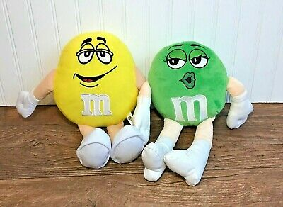 "M&M Yellow & Green 13"" Plush Lot, Toy Factory, Chocolate Candy, Mars"