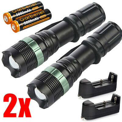 2pcs Tactical Police 900000Lumen T6 LED Flashlight Zoomable Torch+18650&Charger