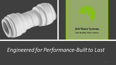 """John Guest RO Straight Union Connector Water Fitting (3/8"""" QC x 3/8"""" QC)"""