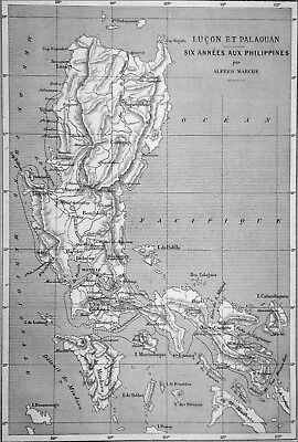 MAP of PHILIPPINES - LUZON and PALAOUAN - Engraving from 19th century