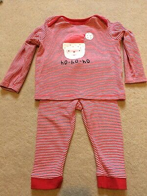 Christmas PJs Red With Santa Design 9-12 Months Excellent Condition