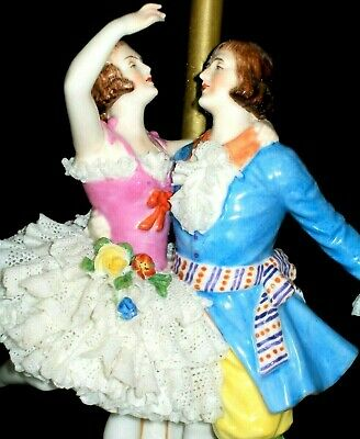 Antique German Dresden Lace Deco Courting Couple Dancers Porcelain Lamp Figurine