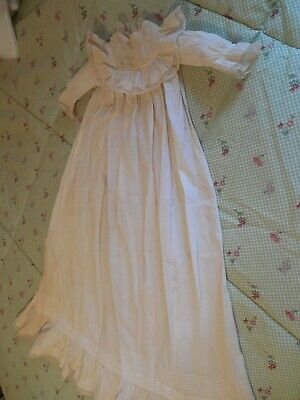 Antique Victorian  Christening Gown, Lace Hem, Baby, Doll Dress 41 INCHES LONG