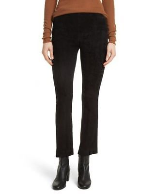 Vince Stretch Suede Leather Cropped Leggings Pants Black  $975