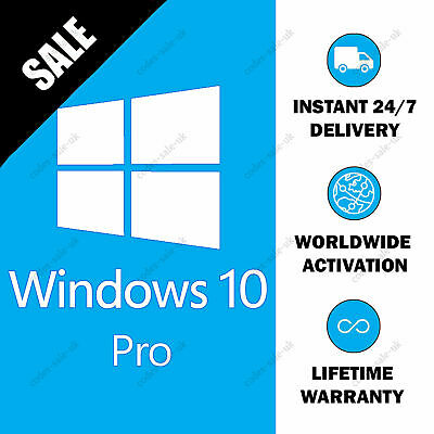 Instant & Genuine Windows 10 Professional 32/64 Bit Pro Activation Key - 1 User